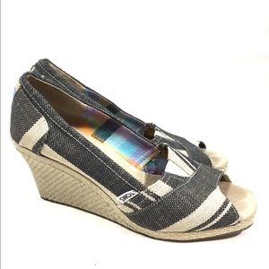 Toms Peep Toe Canvas Wedge Shoes